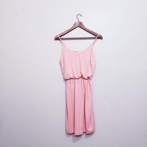 Gap Coral Grey Striped Cami Cinched Waist Dress